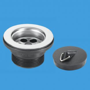 McAlpine BSW15P Centre Pin Bath Wastes - Stainless Steel Flange